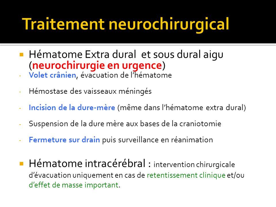Hématome Extra dural et sous dural aigu (neurochirurgie en urgence) - Volet crânien, évacuation de lhématome - Hémostase des vaisseaux méningés - Inci