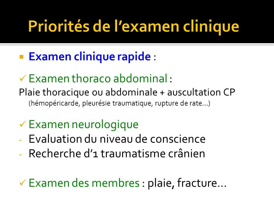 Examen clinique rapide : Examen thoraco abdominal : Plaie thoracique ou abdominale + auscultation CP (hémopéricarde, pleurésie traumatique, rupture de
