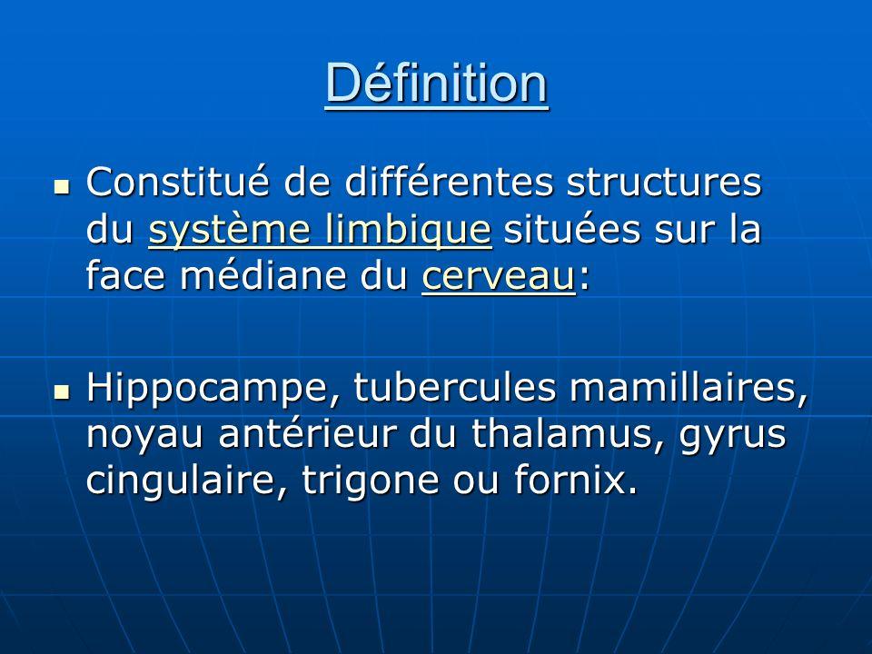 Définition Constitué de différentes structures du système limbique situées sur la face médiane du cerveau: Constitué de différentes structures du syst