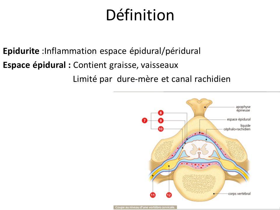 Définition Epidurite :Inflammation espace épidural/péridural Espace épidural : Contient graisse, vaisseaux Limité par dure-mère et canal rachidien