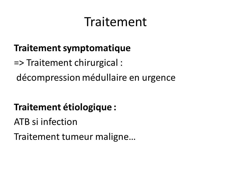 Traitement Traitement symptomatique => Traitement chirurgical : décompression médullaire en urgence Traitement étiologique : ATB si infection Traiteme