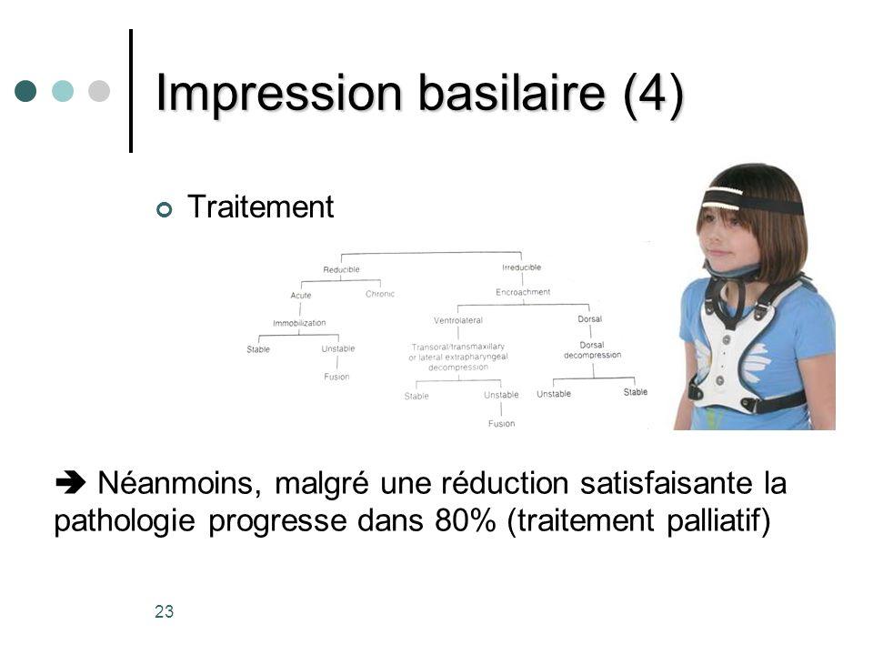 23 Impression basilaire (4) Traitement Néanmoins, malgré une réduction satisfaisante la pathologie progresse dans 80% (traitement palliatif)
