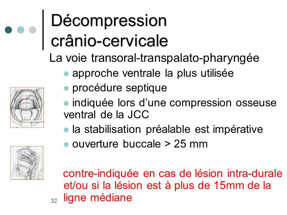 32 Décompression crânio-cervicale La voie transoral-transpalato-pharyngée approche ventrale la plus utilisée procédure septique indiquée lors dune com