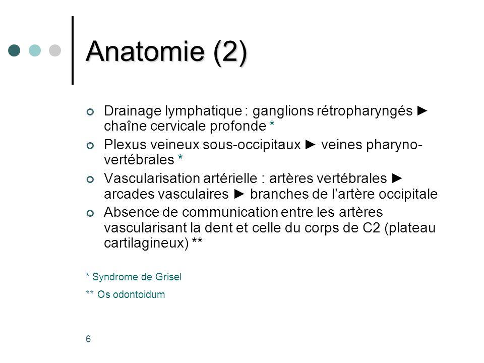 17 Syndrome de Grisel Subluxation atlanto-axiale faisant suite à une infection oro-pharyngée chez lenfant (<12ans) «Inflammation métastatique »: décalcification de lattache ligamentaire Clinique : cervicalgie, cou raide, torticolis, déficit neurologique Traitement : du foyer infectieux immobilisation sterno-occipito-mandibulaire (10-12s) le recours à la fusion est rare