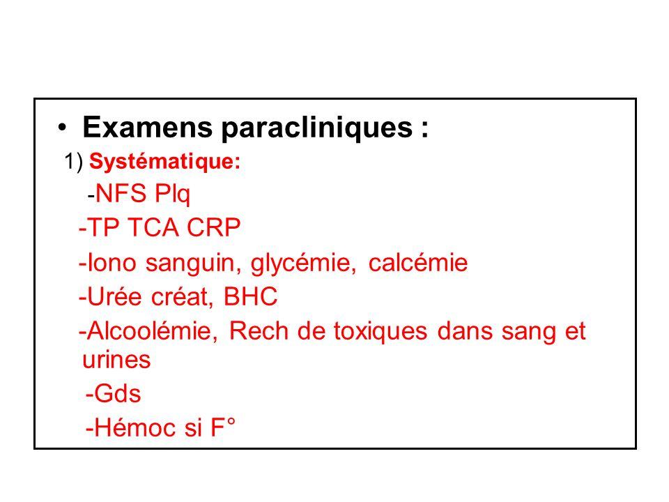 Examens paracliniques : 1) Systématique: - NFS Plq -TP TCA CRP -Iono sanguin, glycémie, calcémie -Urée créat, BHC -Alcoolémie, Rech de toxiques dans sang et urines -Gds -Hémoc si F°