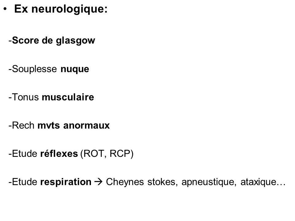 - Examen des yeux : * position paupieres * Clignements - réflexes * pupilles: Diencéphale : petites réactives Mésencéphale : moyennes fixes Nerf III : mydriase fixe homolat Protubérance : myosis punctiformes réactives