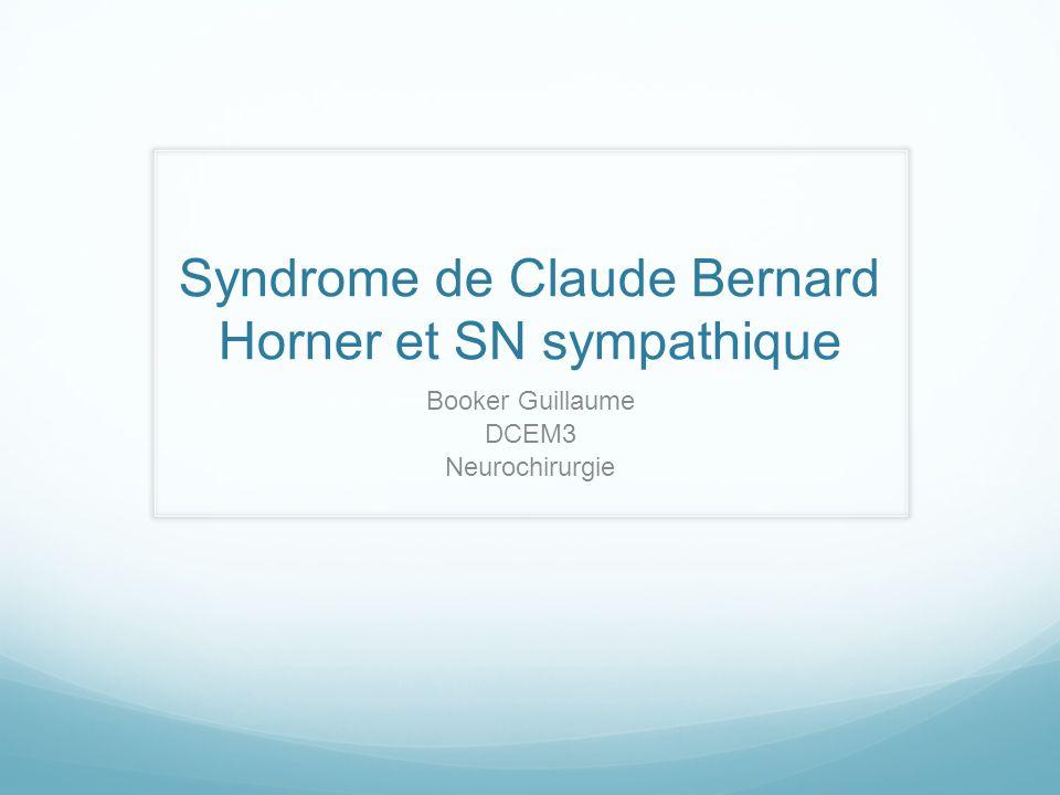 Syndrome de Claude Bernard Horner et SN sympathique Booker Guillaume DCEM3 Neurochirurgie