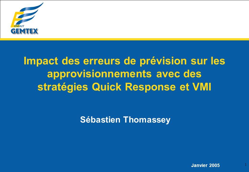 1 Sébastien Thomassey Janvier 2005 Impact des erreurs de prévision sur les approvisionnements avec des stratégies Quick Response et VMI