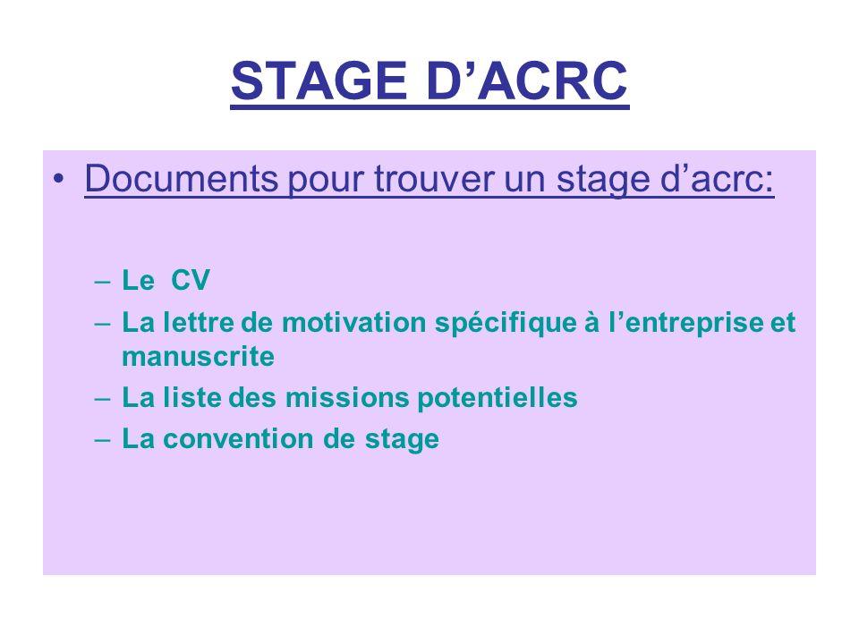 STAGE DACRC Documents pour trouver un stage dacrc: –Le CV –La lettre de motivation spécifique à lentreprise et manuscrite –La liste des missions poten