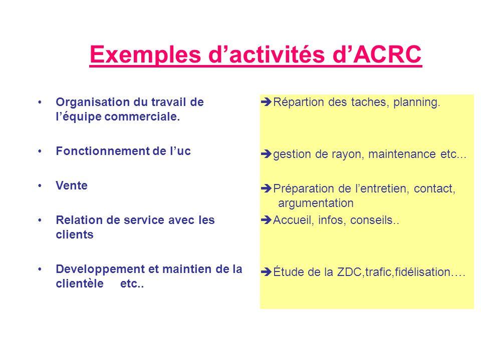 Exemples dactivités dACRC Organisation du travail de léquipe commerciale. Fonctionnement de luc Vente Relation de service avec les clients Developpeme