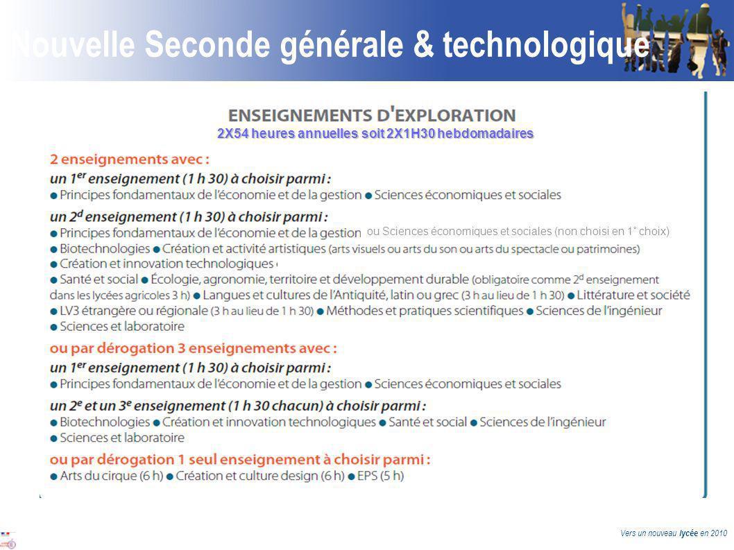 Vers un nouveau lycée en 2010 Nouvelle Seconde générale & technologique 2X54 heures annuelles soit 2X1H30 hebdomadaires ou Sciences économiques et sociales (non choisi en 1° choix) n