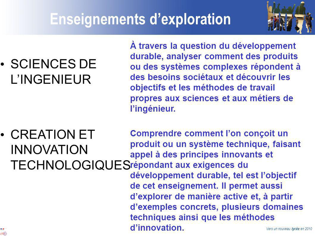Vers un nouveau lycée en 2010 Enseignements dexploration SCIENCES DE LINGENIEUR CREATION ET INNOVATION TECHNOLOGIQUES À travers la question du dévelop