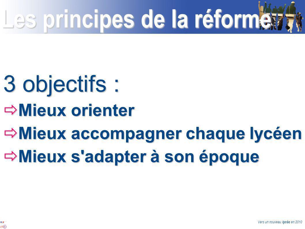 Vers un nouveau lycée en 2010 Les principes de la réforme 3 objectifs : Mieux orienter Mieux orienter Mieux accompagner chaque lycéen Mieux accompagner chaque lycéen Mieux s adapter à son époque Mieux s adapter à son époque