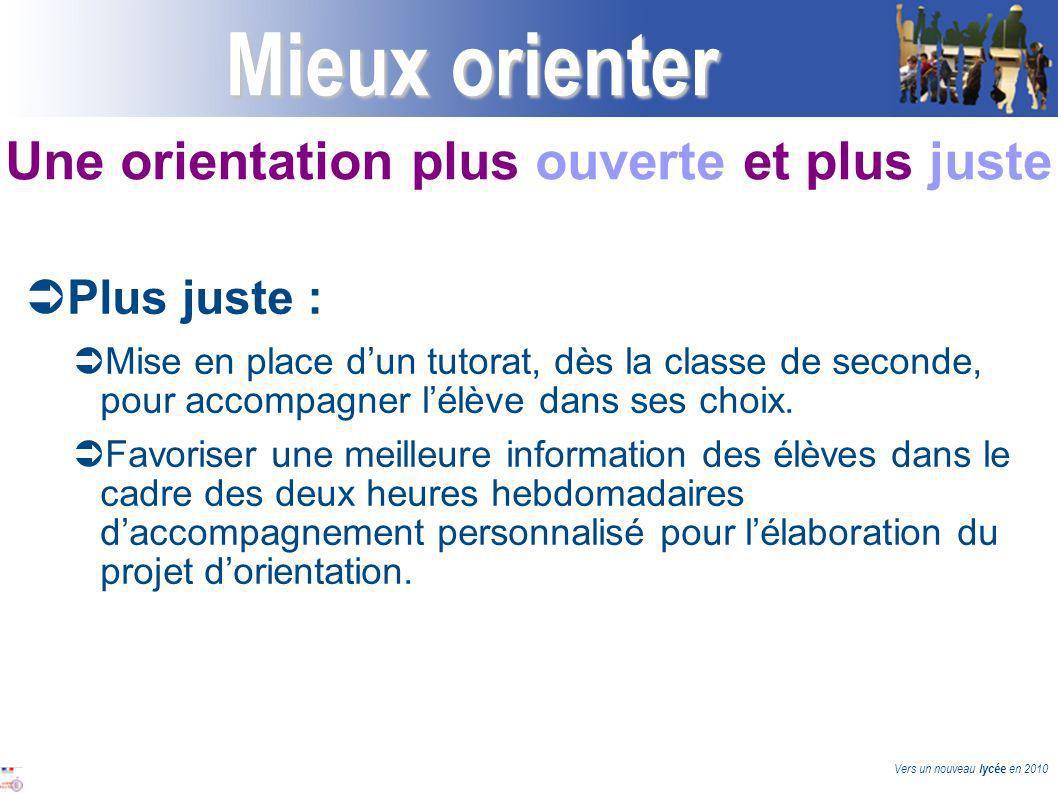 Vers un nouveau lycée en 2010 Mieux orienter Plus juste : Mise en place dun tutorat, dès la classe de seconde, pour accompagner lélève dans ses choix.