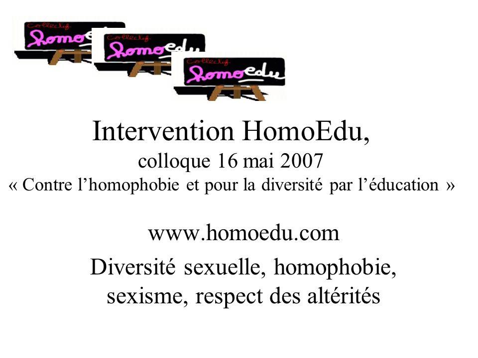 Intervention HomoEdu, colloque 16 mai 2007 « Contre lhomophobie et pour la diversité par léducation » www.homoedu.com Diversité sexuelle, homophobie, sexisme, respect des altérités