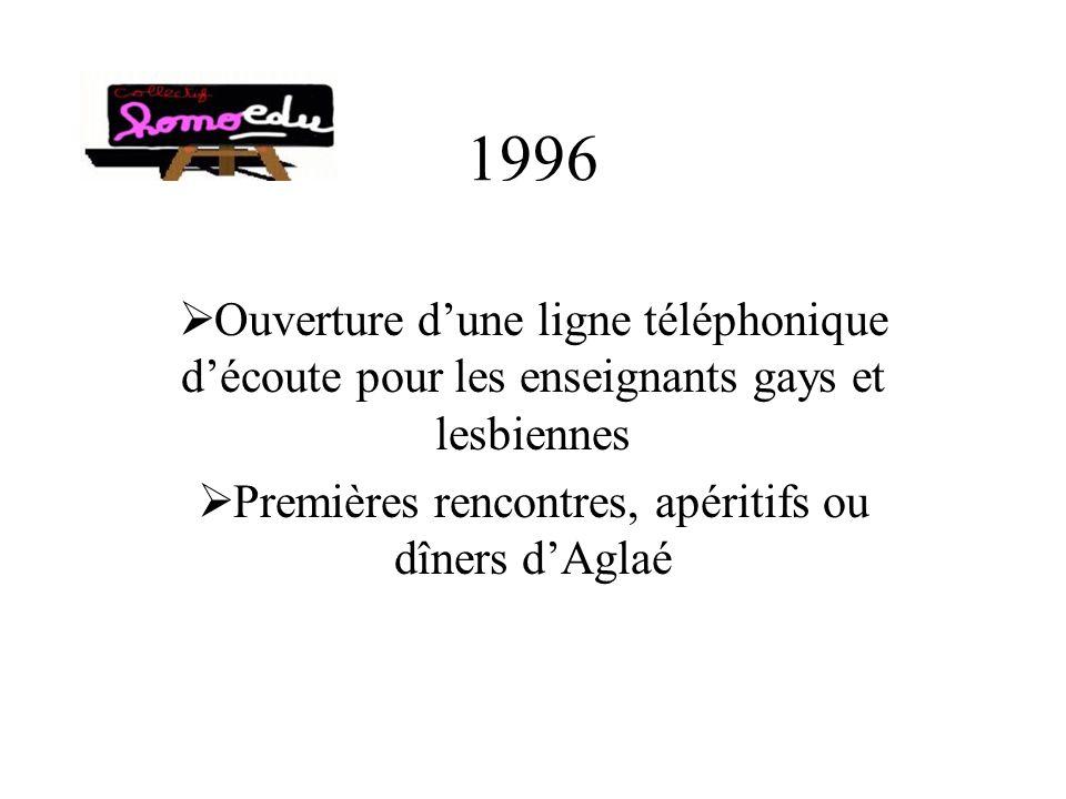 1996 Ouverture dune ligne téléphonique découte pour les enseignants gays et lesbiennes Premières rencontres, apéritifs ou dîners dAglaé