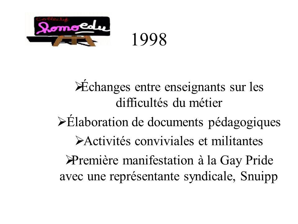 1998 Échanges entre enseignants sur les difficultés du métier Élaboration de documents pédagogiques Activités conviviales et militantes Première manifestation à la Gay Pride avec une représentante syndicale, Snuipp