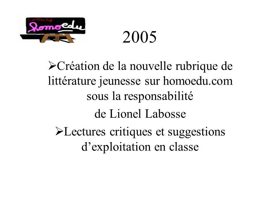 2005 Création de la nouvelle rubrique de littérature jeunesse sur homoedu.com sous la responsabilité de Lionel Labosse Lectures critiques et suggestions dexploitation en classe
