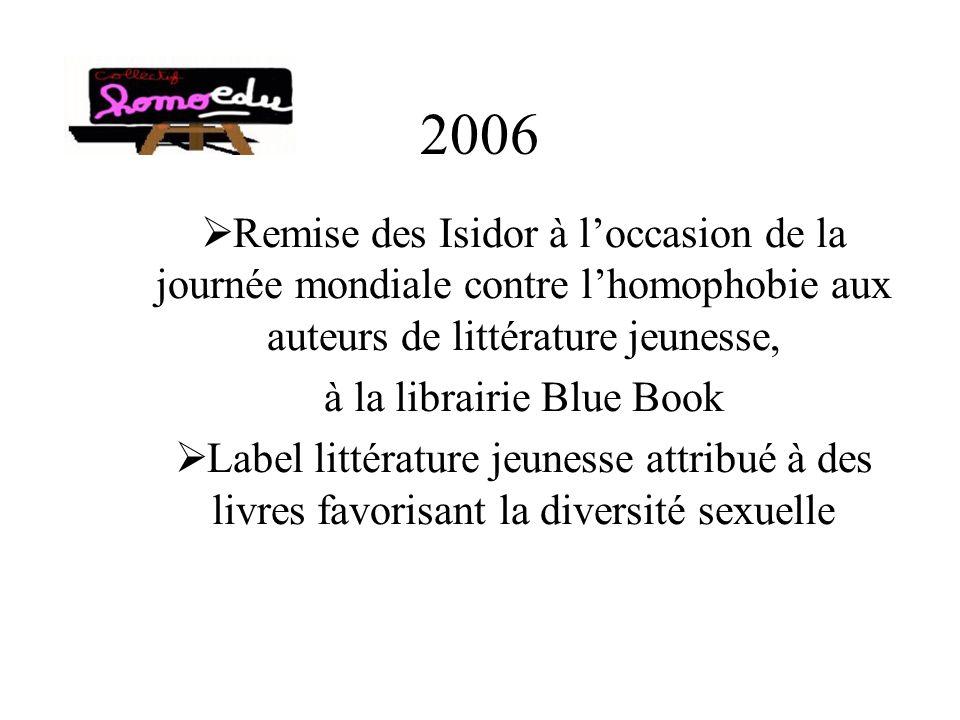 2006 Remise des Isidor à loccasion de la journée mondiale contre lhomophobie aux auteurs de littérature jeunesse, à la librairie Blue Book Label littérature jeunesse attribué à des livres favorisant la diversité sexuelle