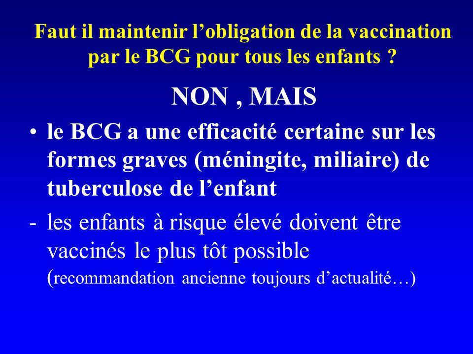 Faut il maintenir lobligation de la vaccination par le BCG pour tous les enfants ? NON, MAIS le BCG a une efficacité certaine sur les formes graves (m