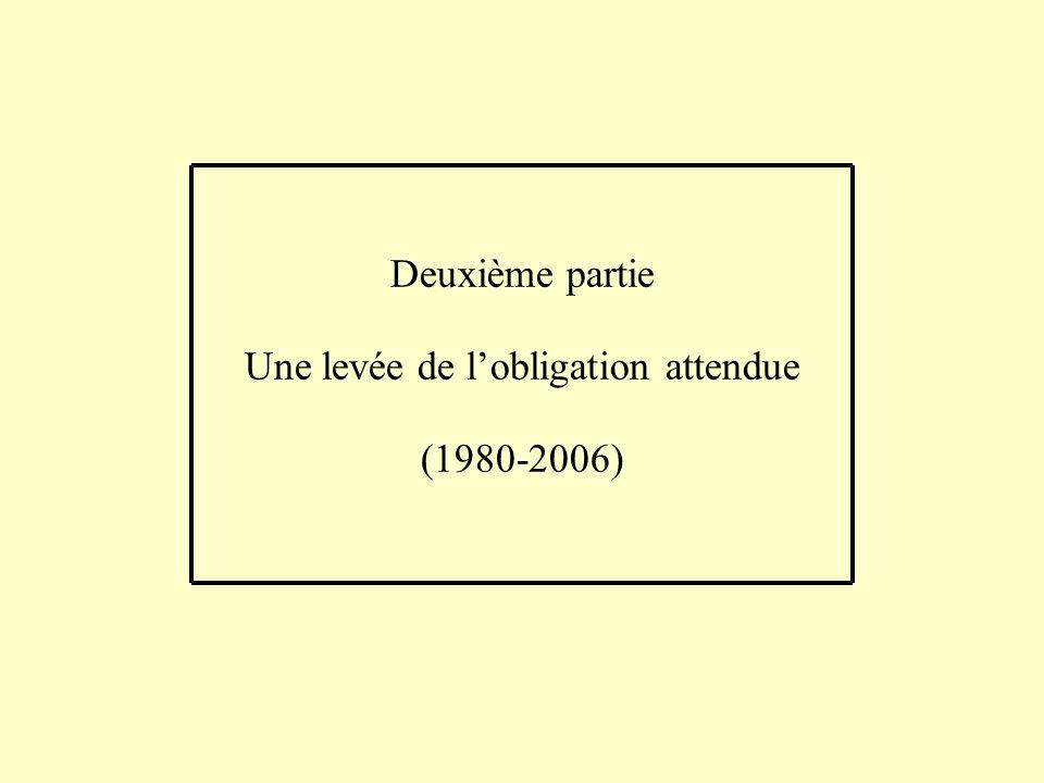 Deuxième partie Une levée de lobligation attendue (1980-2006)
