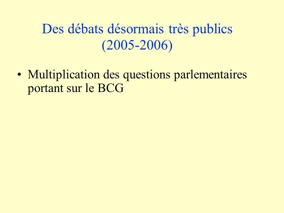 Des débats désormais très publics (2005-2006) Multiplication des questions parlementaires portant sur le BCG