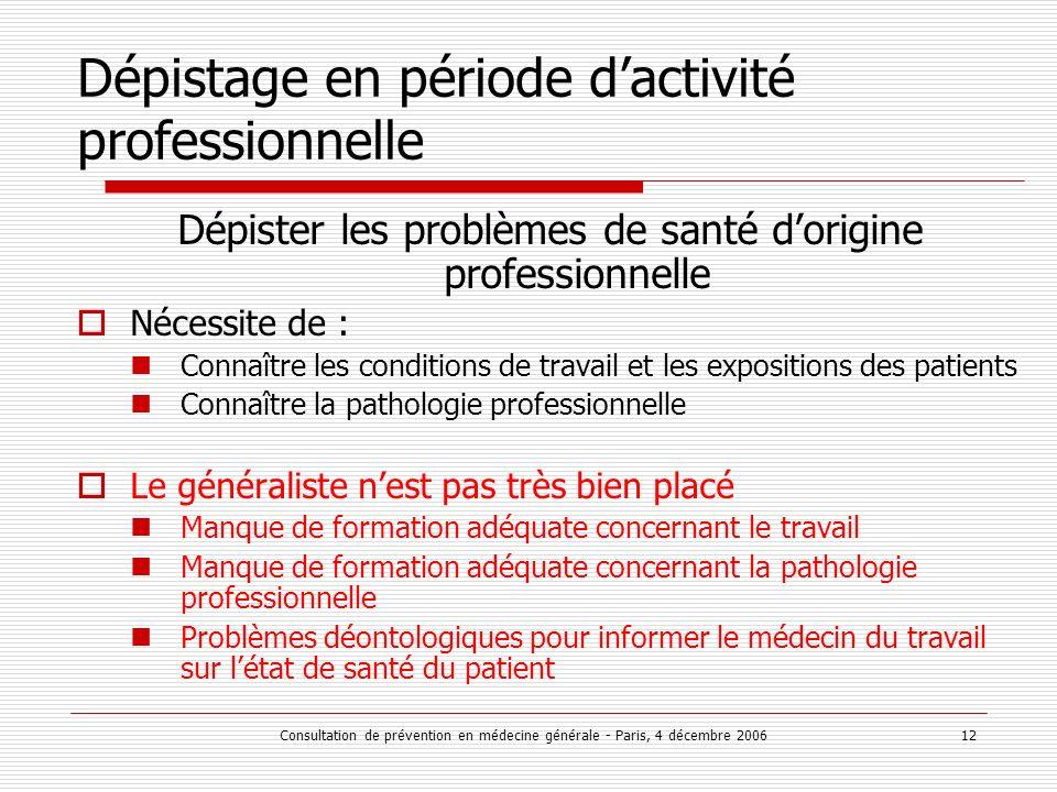 Consultation de prévention en médecine générale - Paris, 4 décembre 2006 12 Dépistage en période dactivité professionnelle Dépister les problèmes de s