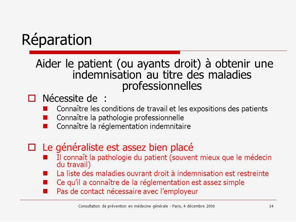 Consultation de prévention en médecine générale - Paris, 4 décembre 2006 14 Réparation Aider le patient (ou ayants droit) à obtenir une indemnisation