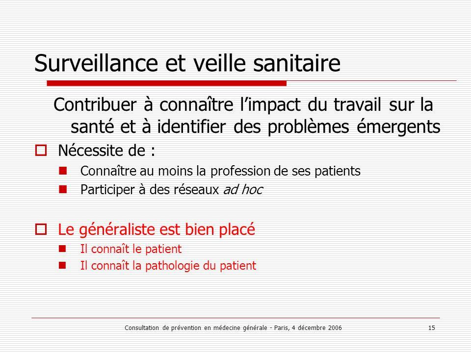 Consultation de prévention en médecine générale - Paris, 4 décembre 2006 15 Surveillance et veille sanitaire Contribuer à connaître limpact du travail