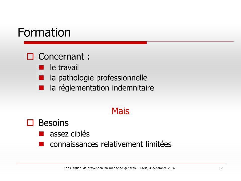 Consultation de prévention en médecine générale - Paris, 4 décembre 2006 17 Formation Concernant : le travail la pathologie professionnelle la régleme