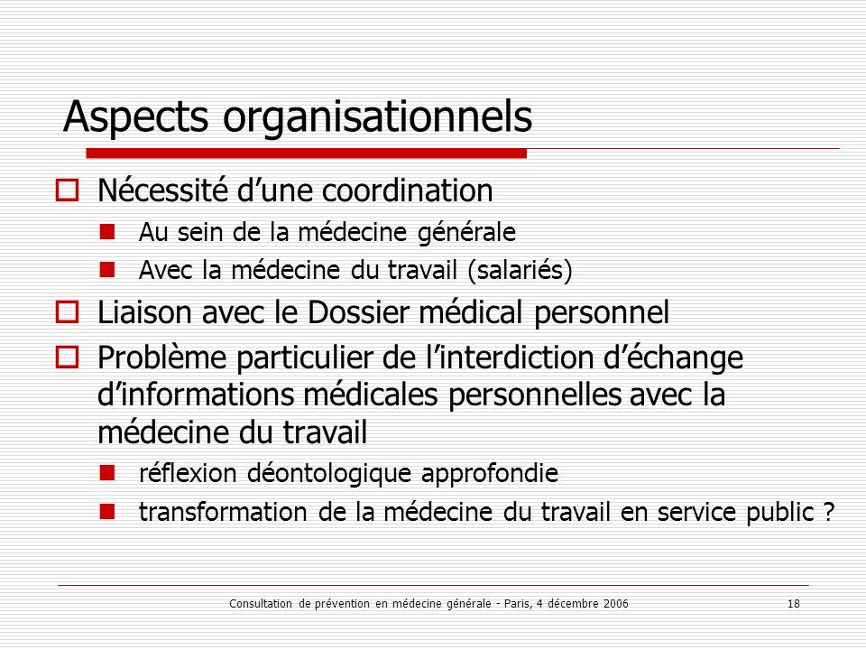 Consultation de prévention en médecine générale - Paris, 4 décembre 2006 18 Aspects organisationnels Nécessité dune coordination Au sein de la médecin