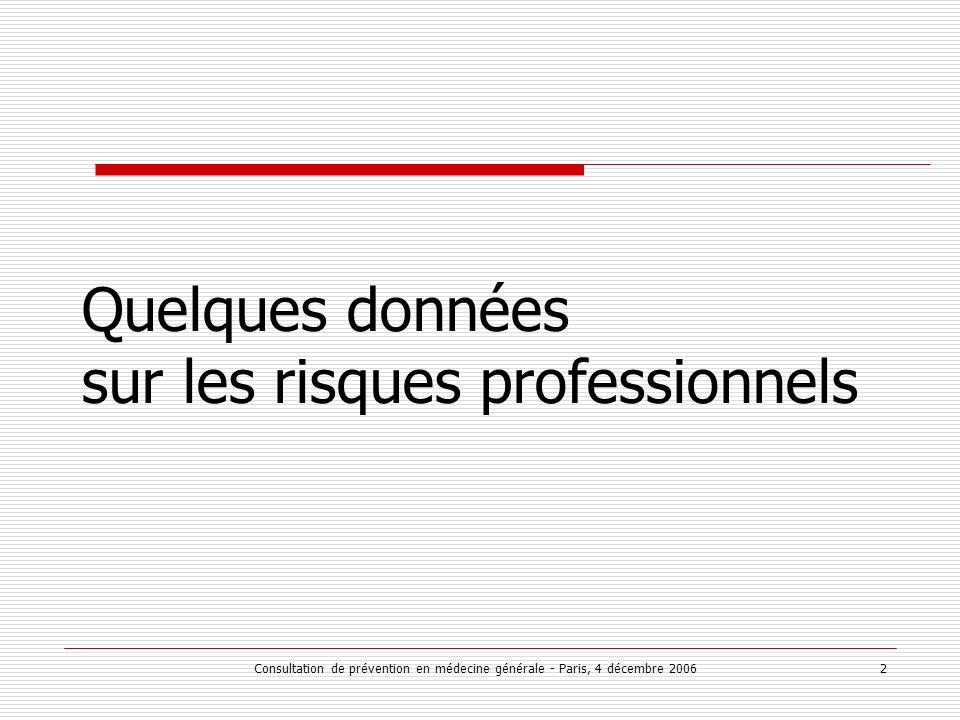 Consultation de prévention en médecine générale - Paris, 4 décembre 2006 2 Quelques données sur les risques professionnels