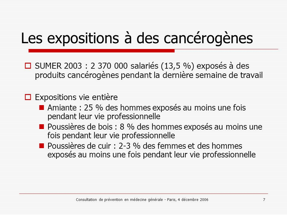 Consultation de prévention en médecine générale - Paris, 4 décembre 2006 7 Les expositions à des cancérogènes SUMER 2003 : 2 370 000 salariés (13,5 %)