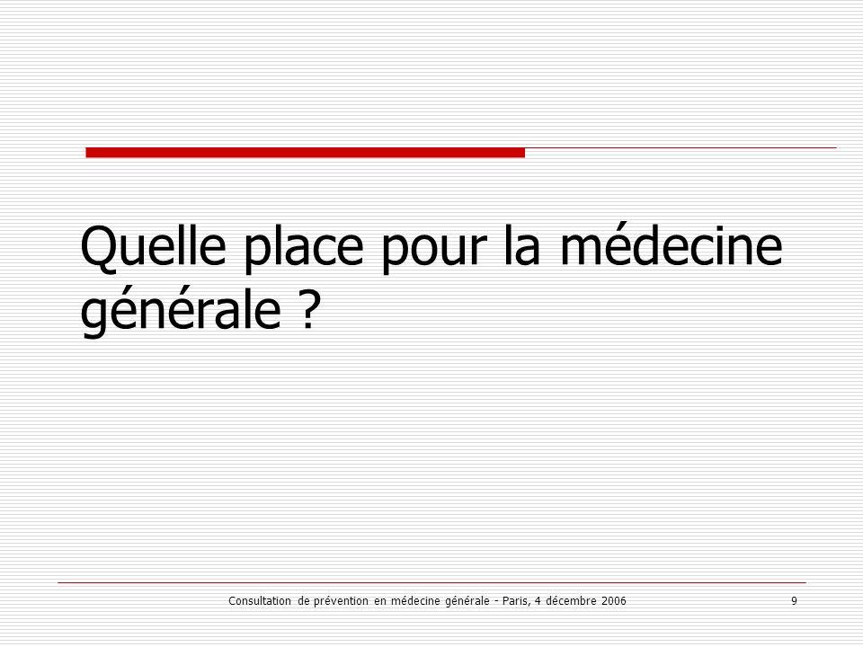 Consultation de prévention en médecine générale - Paris, 4 décembre 2006 9 Quelle place pour la médecine générale ?