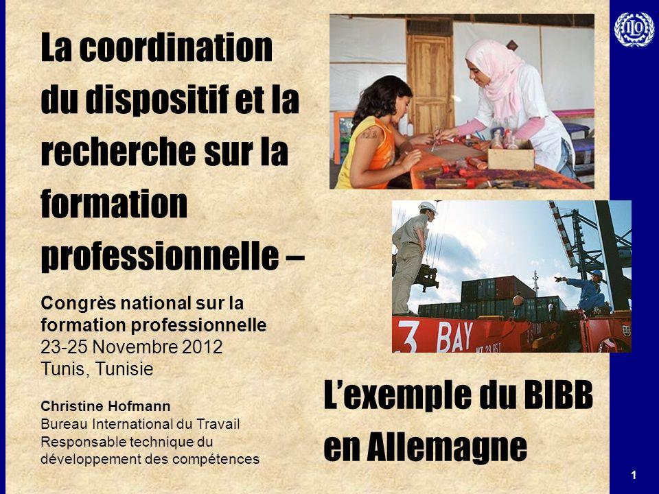 1 La coordination du dispositif et la recherche sur la formation professionnelle – Congrès national sur la formation professionnelle 23-25 Novembre 20