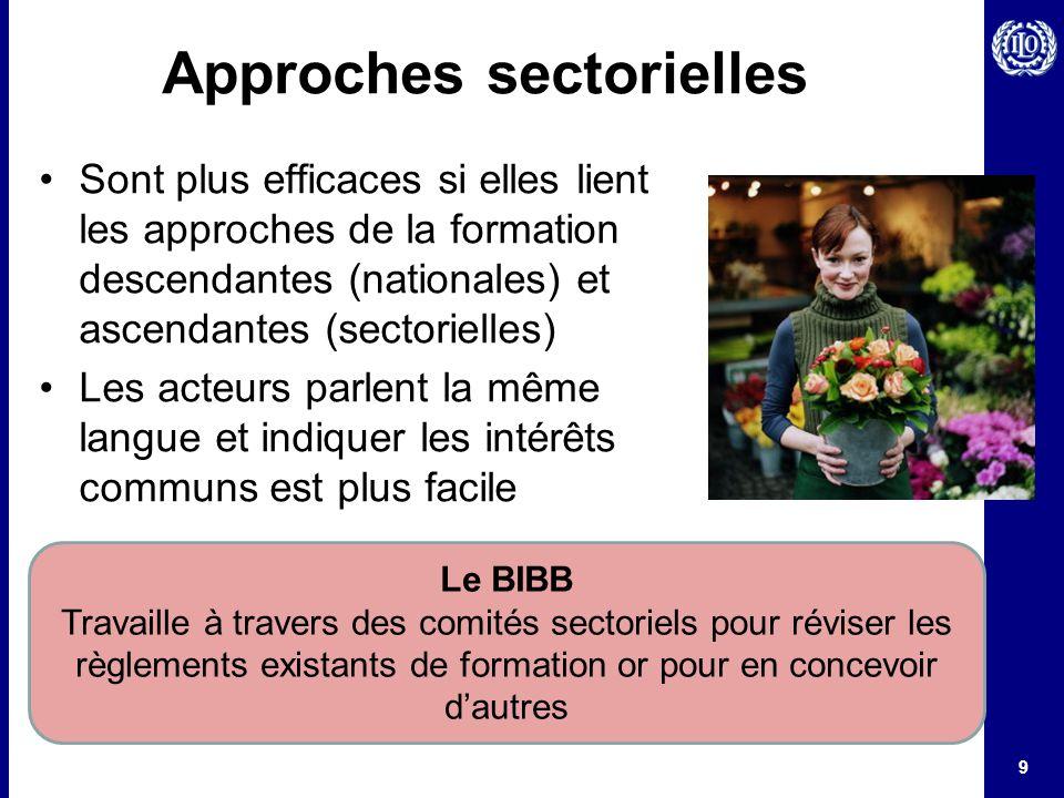 9 Approches sectorielles Sont plus efficaces si elles lient les approches de la formation descendantes (nationales) et ascendantes (sectorielles) Les