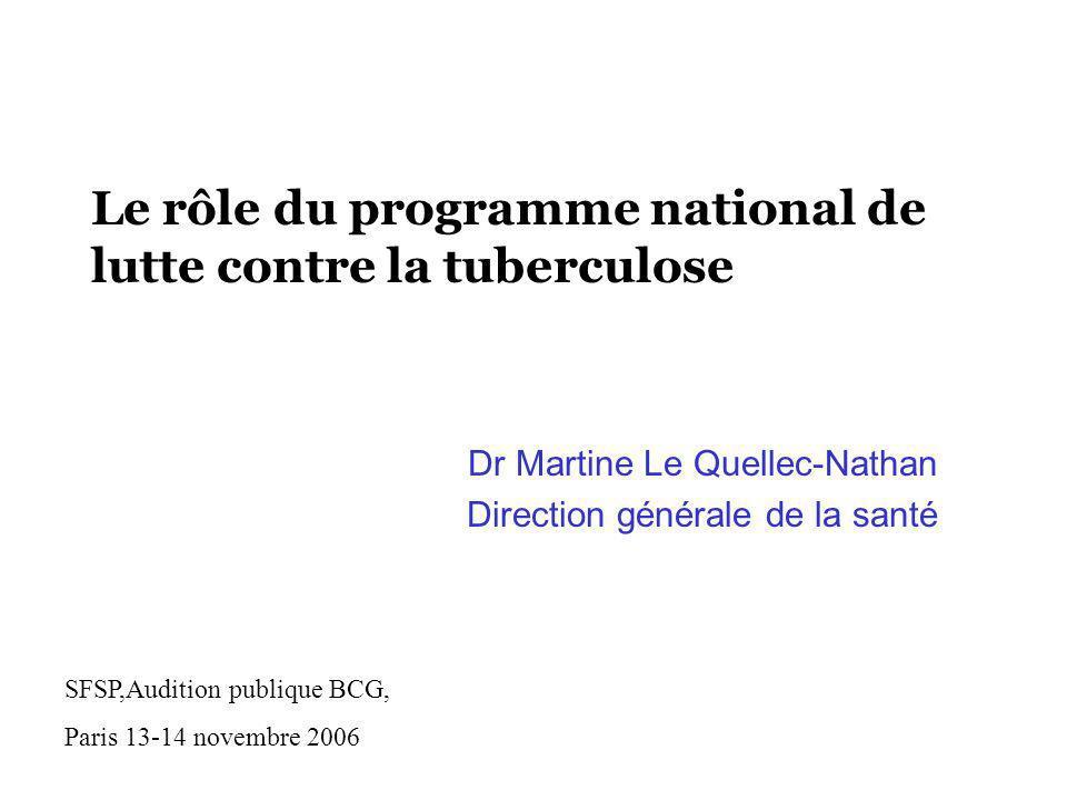 Le rôle du programme national de lutte contre la tuberculose Dr Martine Le Quellec-Nathan Direction générale de la santé SFSP,Audition publique BCG, P