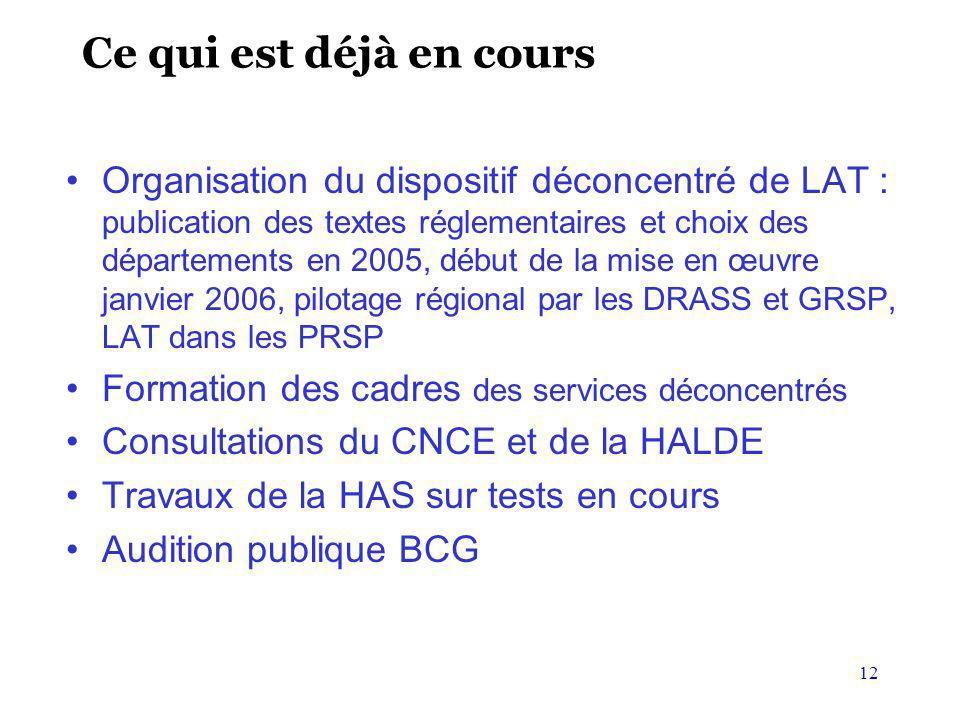 12 Ce qui est déjà en cours Organisation du dispositif déconcentré de LAT : publication des textes réglementaires et choix des départements en 2005, d