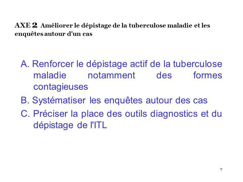7 AXE 2 Améliorer le dépistage de la tuberculose maladie et les enquêtes autour d'un cas A. Renforcer le dépistage actif de la tuberculose maladie not