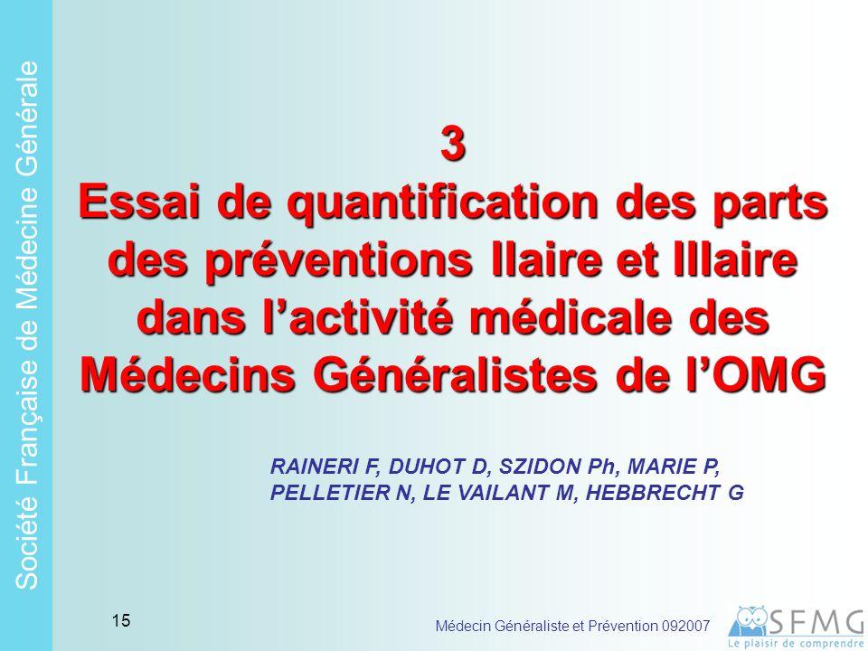 Soci é t é Fran ç aise de M é decine G é n é rale Médecin Généraliste et Prévention 092007 14 Les MGs acteurs en Santé Publique (2) .