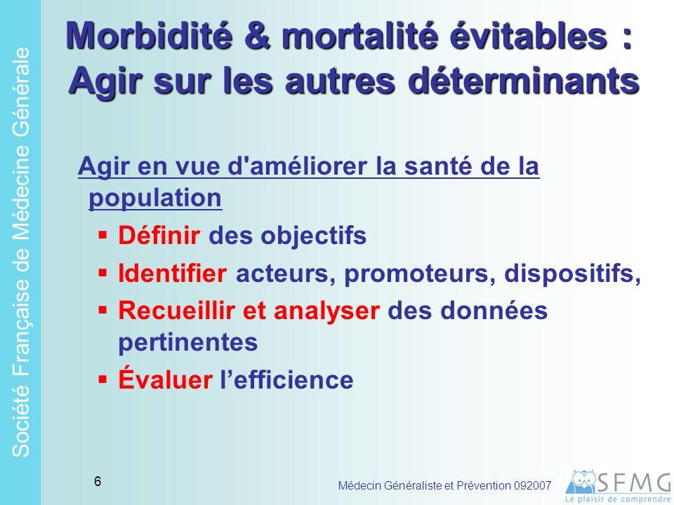 Soci é t é Fran ç aise de M é decine G é n é rale Médecin Généraliste et Prévention 092007 5 Morbidité & mortalité évitables : Quels déterminants majeurs .