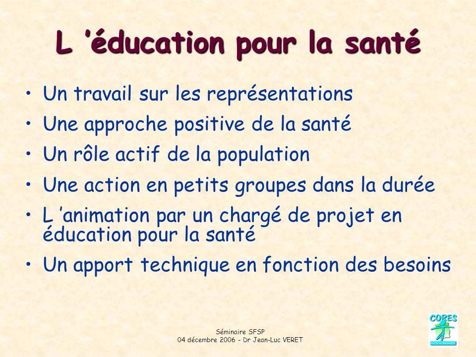 Séminaire SFSP 04 décembre 2006 - Dr Jean-Luc VERET L éducation pour la santé Un travail sur les représentations Une approche positive de la santé Un rôle actif de la population Une action en petits groupes dans la durée L animation par un chargé de projet en éducation pour la santé Un apport technique en fonction des besoins