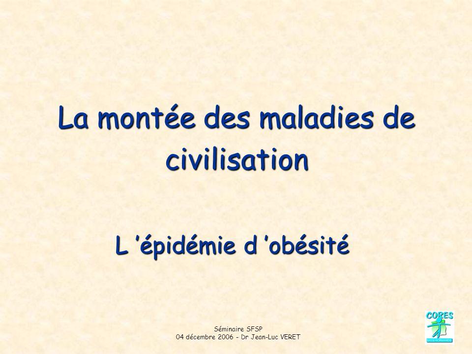 Séminaire SFSP 04 décembre 2006 - Dr Jean-Luc VERET La montée des maladies de civilisation L épidémie d obésité
