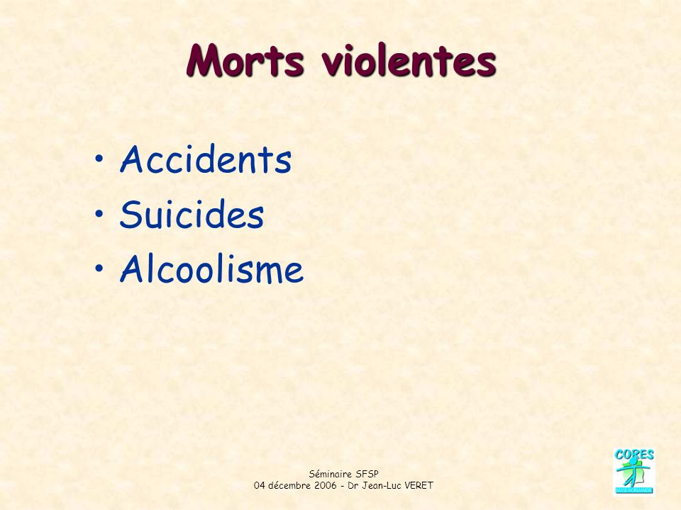 Séminaire SFSP 04 décembre 2006 - Dr Jean-Luc VERET Morts violentes Accidents Suicides Alcoolisme