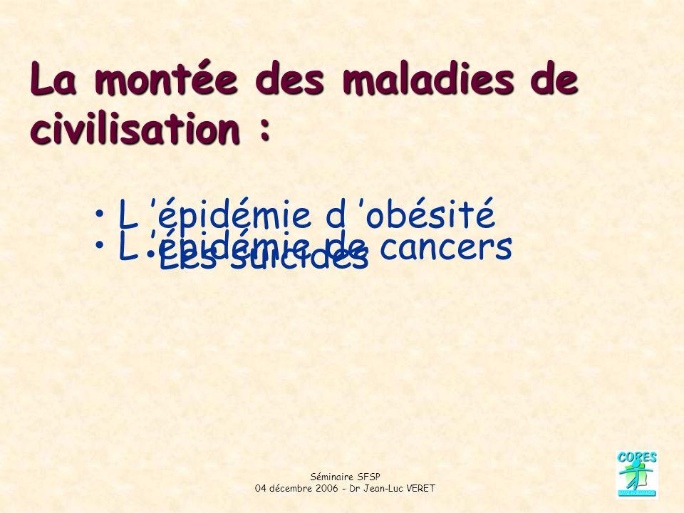 Séminaire SFSP 04 décembre 2006 - Dr Jean-Luc VERET La montée des maladies de civilisation : L épidémie de cancers L épidémie d obésité Les suicides