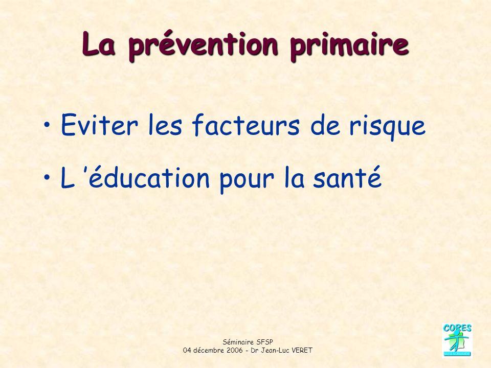 Séminaire SFSP 04 décembre 2006 - Dr Jean-Luc VERET La prévention primaire Eviter les facteurs de risque L éducation pour la santé