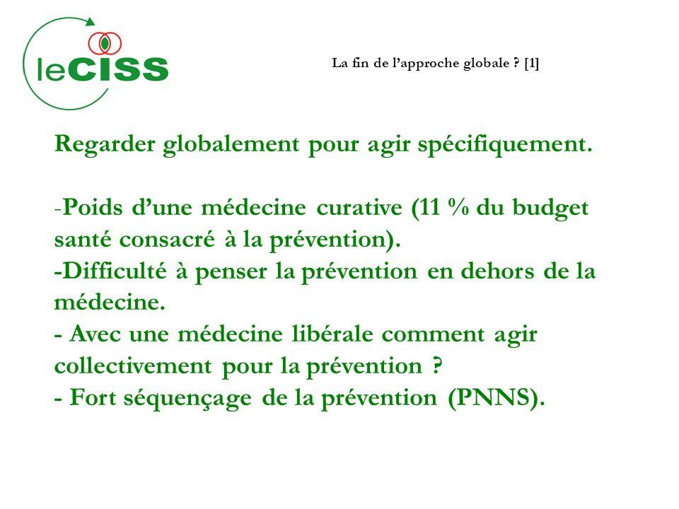 La fin de lapproche globale ? [1] Regarder globalement pour agir spécifiquement. -Poids dune médecine curative (11 % du budget santé consacré à la pré