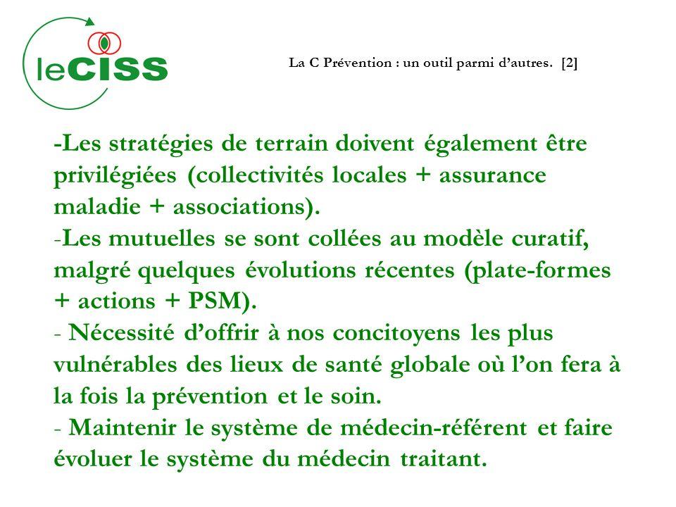 La C Prévention : un outil parmi dautres. [2] -Les stratégies de terrain doivent également être privilégiées (collectivités locales + assurance maladi