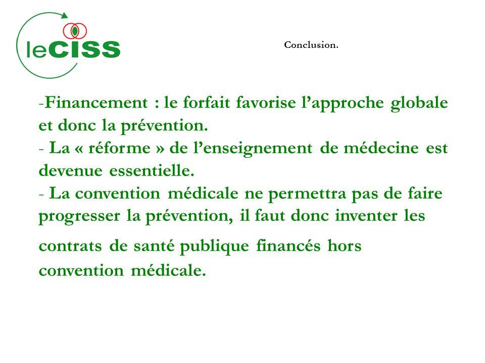 Conclusion. -Financement : le forfait favorise lapproche globale et donc la prévention. - La « réforme » de lenseignement de médecine est devenue esse