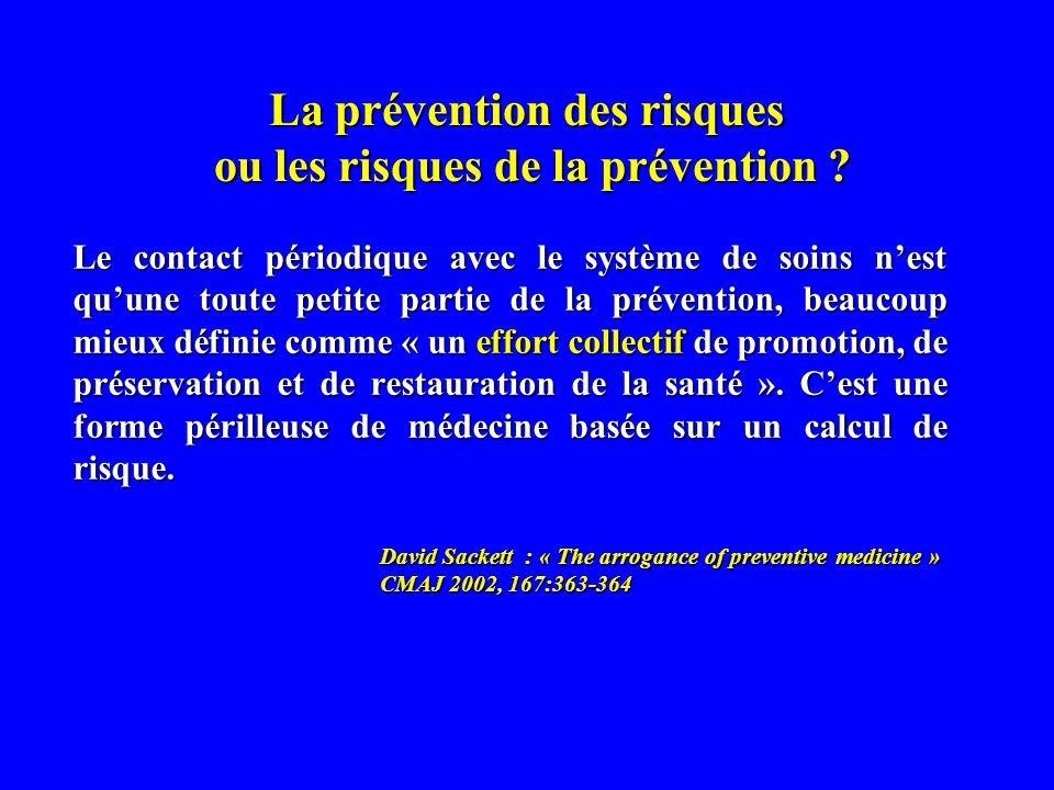 La prévention des risques ou les risques de la prévention .